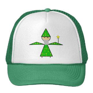 Mago verde amistoso del palillo gorro