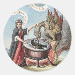 Mago y dragón en la caldera de la alquimia pegatina redonda
