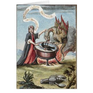 Mago y dragón en la caldera de la alquimia tarjeta de felicitación