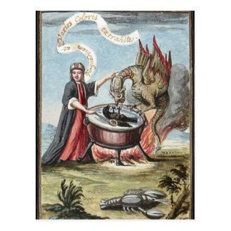 Mago y dragón en la caldera de la alquimia tarjetas postales