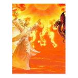 Mago y dragón tarjeta postal