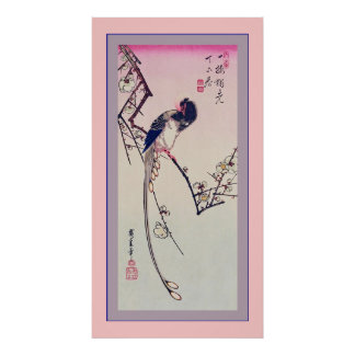 Magpie and Plum Blossoms Vintage Japanese Poster