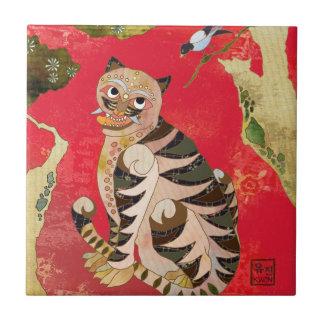 Magpie and Tiger Korean Folk Art Ceramic Deco Tile
