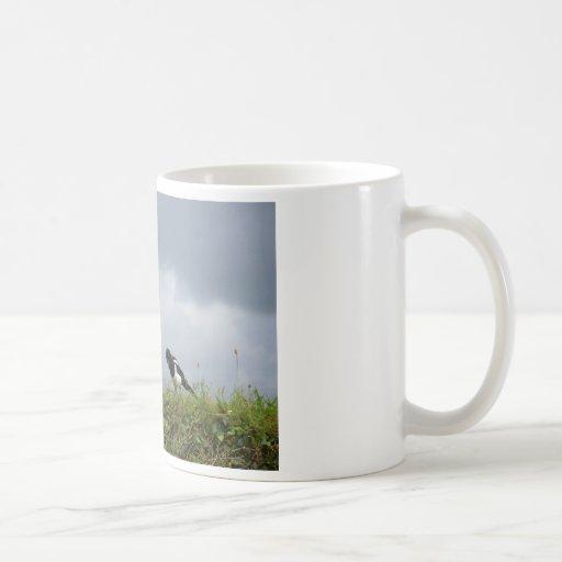 Magpie and wild flowers. classic white coffee mug