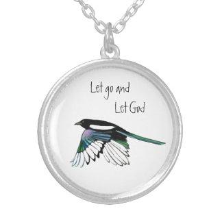 Magpie Bird Inspirational Quote Let Go Let God Round Pendant Necklace