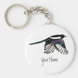 Magpie, Bird to Customize with Your Name Keychain
