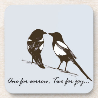 Magpie coasters - One for sorrow, Two for joy