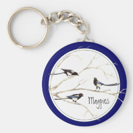 Magpie Family to Customize, Bird Collection Keychain