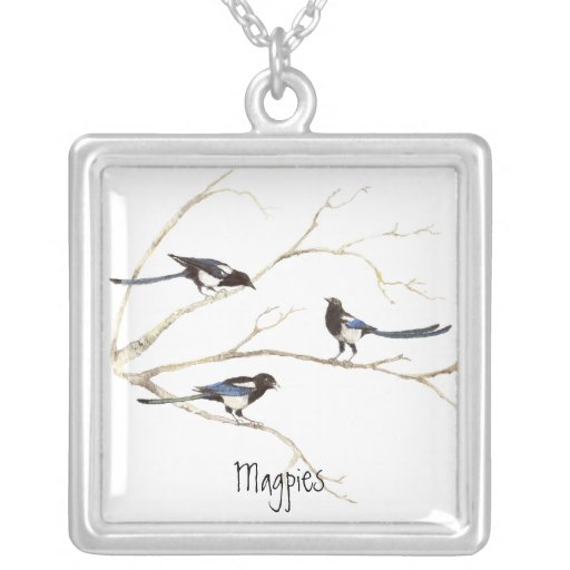 Magpie Family to Customize, Bird Collection Necklaces