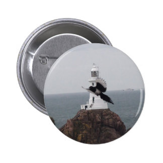 Magpie flying past La Corbiere Lighthouse Pinback Buttons