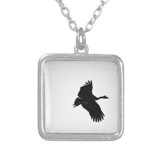 MAGPIE GEESE IN FLIGHT SILHOUETTE AUSTRALIA SILVER PLATED NECKLACE