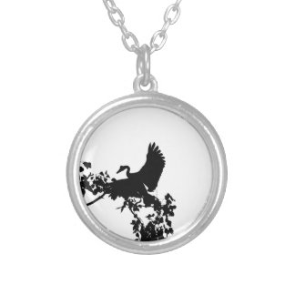 MAGPIE GOOSE IN FLIGHT SILHOUETTE AUSTRALIA SILVER PLATED NECKLACE