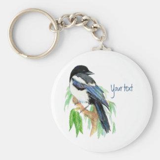 Magpie in Willow Tree, Bird, Garden to Customize Keychain