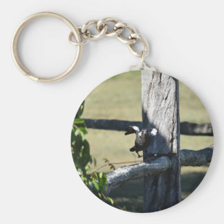 MAGPIE READY TO FLY ON FENCE AUSTRALIA BASIC ROUND BUTTON KEYCHAIN