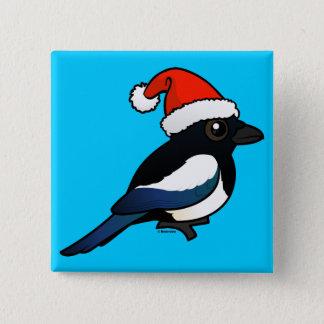 Magpie Santa Pinback Button