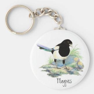 Magpie  - Watercolor Bird Keychain