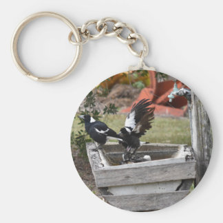 MAGPIES BATING IN WATER AUSTRALIA BASIC ROUND BUTTON KEYCHAIN