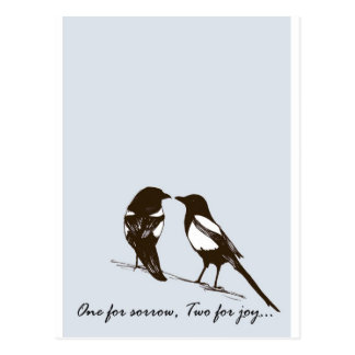 magpies - one for sorrow, two for joy postcards