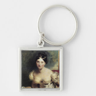 Maguerite Countess of Blessington Silver-Colored Square Keychain