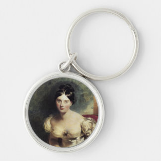 Maguerite Countess of Blessington Silver-Colored Round Keychain