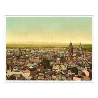 Maguncia, hacia el Rin, el Rin, magni de Alemania Tarjeta Postal