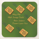"Mah Jong Wishes Square Paper Coaster<br><div class=""desc"">May the Mah Jongg gods rain jokers down upon you</div>"