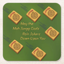 Mah Jong Wishes Square Paper Coaster