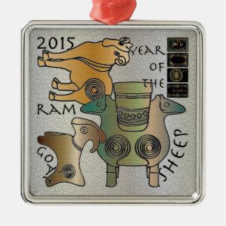Mah Jongg 2015 años de la cabra del espolón de las Adorno Navideño Cuadrado De Metal