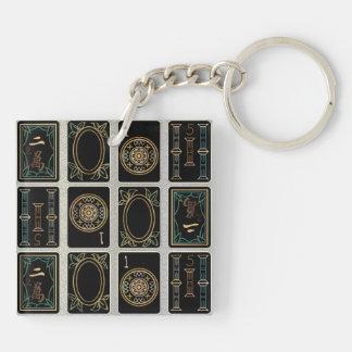 Mah Jongg 2015 Year of the Sheep Ram Goat Double-Sided Square Acrylic Keychain