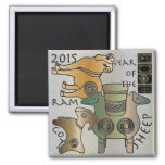 Mah Jongg 2015 Year of the Sheep Ram Goat 2 Inch Square Magnet