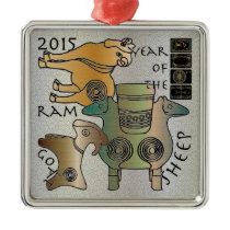 Mah Jongg 2015 Year of the Sheep Ram Goat Metal Ornament
