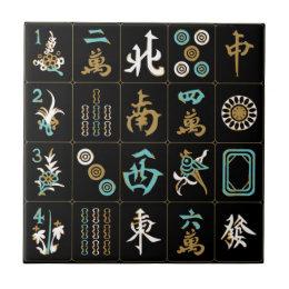 Mah Jongg Black/Aqua/Sand Tile