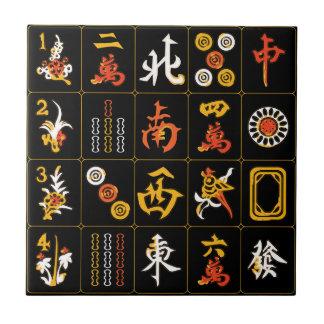 Mah Jongg Black/Orange/Yellow Tile