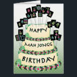 """Mah Jongg Cake Birthday Card<br><div class=""""desc"""">Send your Mah Jongg friend a special birthday greeting: Happy Birthday Dear Mah Jongg Friend,  May your year be filled with love,  laughter and luck.</div>"""