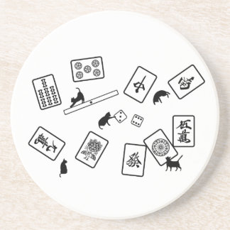 Mah-jongg cat mahjong cat drink coaster