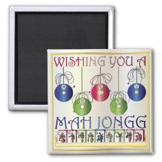 Mah Jongg Christmas Bettors 2 Inch Square Magnet