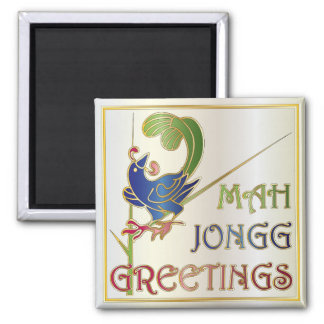 Mah Jongg Christmas One Bam 2 Inch Square Magnet