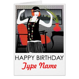 Mah Jongg Flapper Dancer Birthday Card
