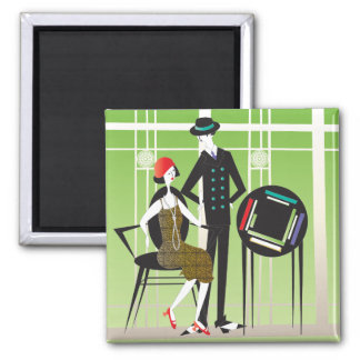 Mah Jongg Flappers Couple2 2 Inch Square Magnet
