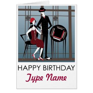 Mah Jongg Flappers Couple Birthday Card