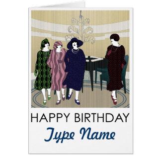 Mah Jongg Flappers Lounge Birthday Card