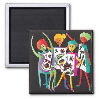 Mah Jongg Flower Dance 2 Inch Square Magnet