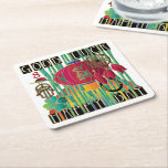 "Mah Jongg Good Luck Happy Day Square Paper Coaster<br><div class=""desc"">Design featuring lucky symbols including a green dragon,  rainbow and hamsa.</div>"
