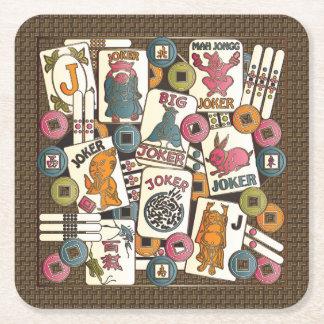 Mah Jongg Jokers Square Paper Coaster