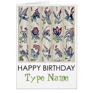 Mah Jongg One Bam Birds Birthday Card