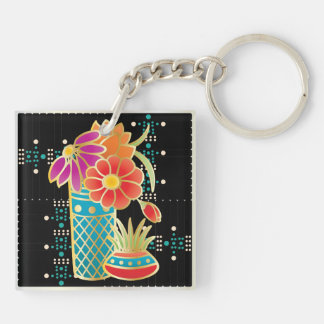 Mah Jongg Red Table Double-Sided Square Acrylic Keychain