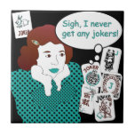 """Mah Jongg Sayings Jokers Tile<br><div class=""""desc"""">Familiar sayings often heard at the Mah Jongg table. Get the retro look! The perfect gift for yourself and others. Use as a trivet or coaster,  or add a box for a unique table accessory.</div>"""