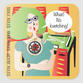 Mah Jongg Sayings Kvetching Square Sticker