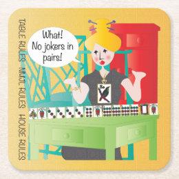 Mah Jongg Sayings No Jokers Square Paper Coaster