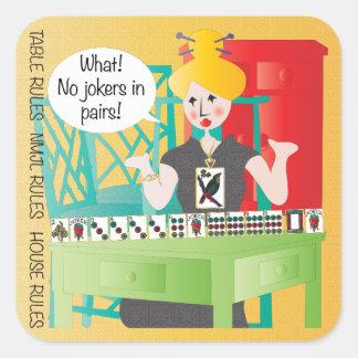 Mah Jongg Sayings No Jokers Square Sticker